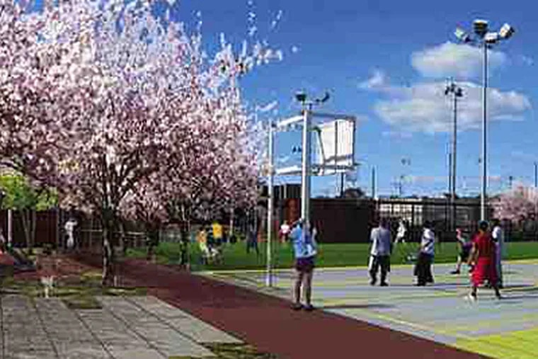A depiction of what part of the school yard behind Drew Elementary in University City would look like. School grounds and recreational centers are prime targets.