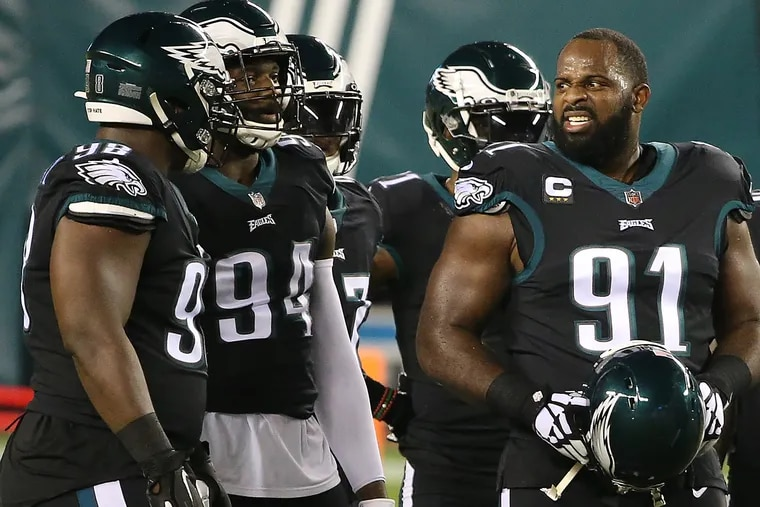Fletcher Cox (right), shown here with Josh Sweat (94) and Hassan Ridgeway, is the key to a possibly dominant Eagles defense.