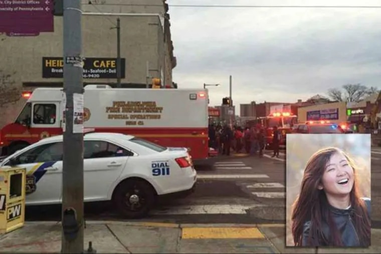 """Emergency crews responding on April 11, 2016, to the scene after someone was hit by a SEPTA train. Inset, Ao """"Olivia"""" Kong."""
