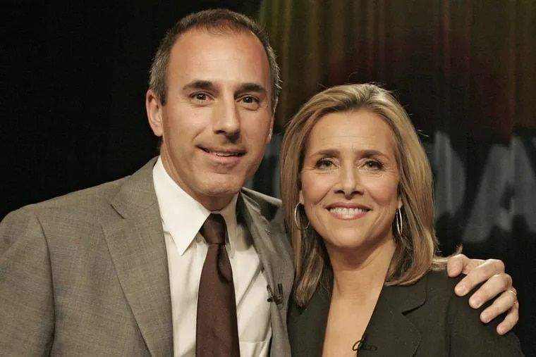 """Former """"Today"""" show host Matt Lauer poses with Meredith Vieira back in 2006. On Wednesday, a video surfaced showing Lauer making a lewd comment to Vieira."""
