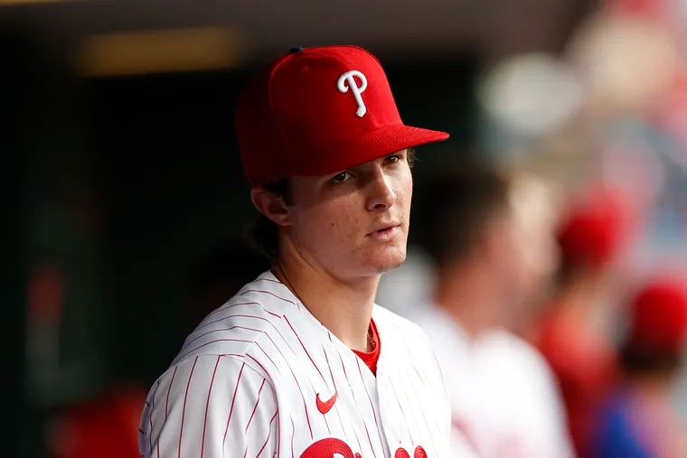 Phillies outfielder Mickey Moniak in the dugout Monday night at Citizens Bank Park.