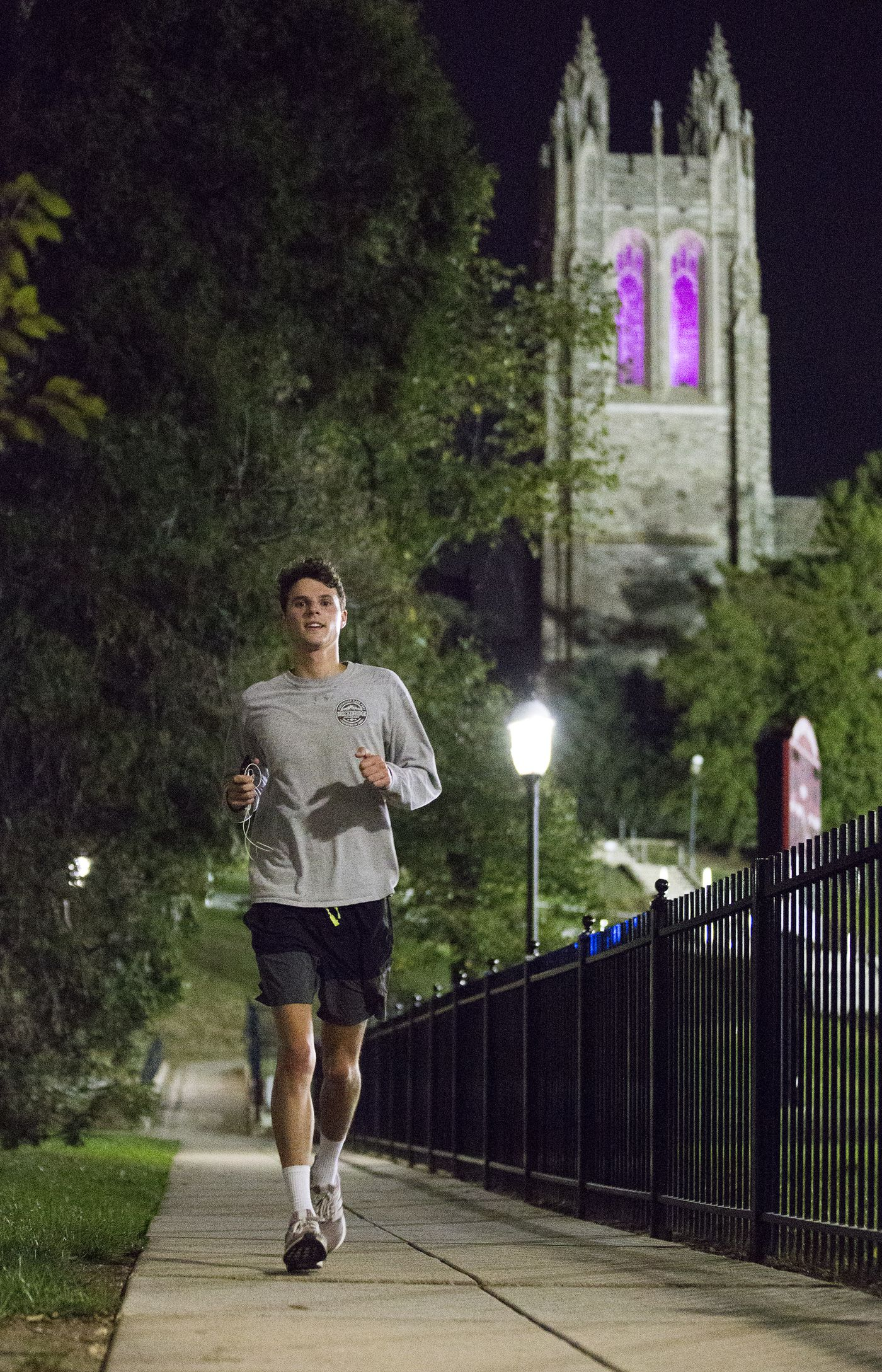 Ethan Widrig, a St. Joseph's student, is running a 5K every single day for 100 days to raise money for Alzheimer's awareness and research. He usually runs at night. He is shown on Oct. 11, 2019.