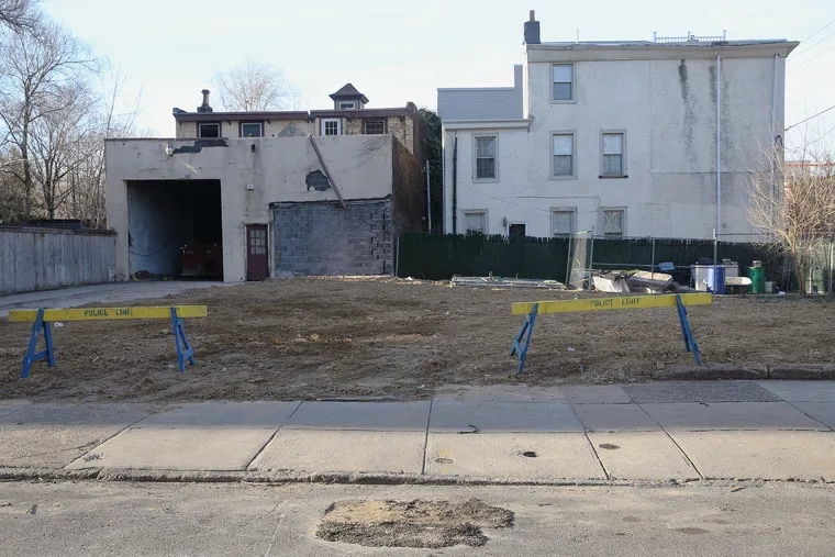 The empty lots at 633 and 635 E. Thompson St. in Philadelphia's Fishtown neighborhood at the end of February. Two adjoining rowhouses formerly on the property collapsed after a contractor performed work in one of the homes without a permit.