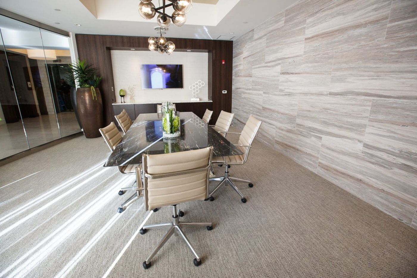 America's new workplace: An apartment building's common room