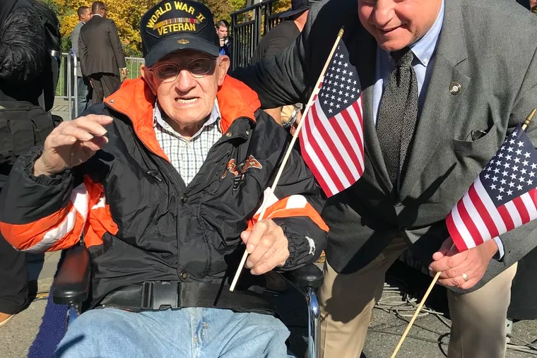 Mr. Reluga, at left, with Al Taubenberger at the 2019 Veterans Day parade. Taubenberger was an at-large member of Philadelphia's City Council from 2016 to 2020.