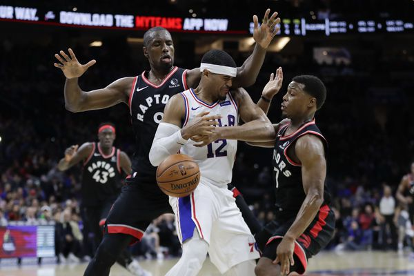 Sixers overcome 11 fourth-quarter turnovers to hold off Raptors, 110-104, as Tobias Harris pours in 26 points