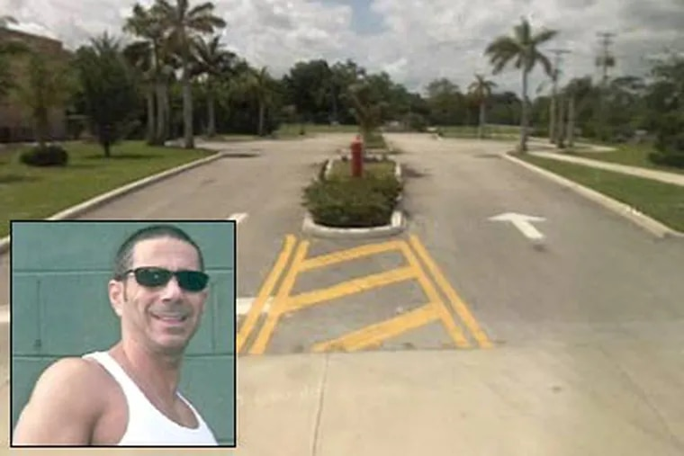 Former reputed Philadelphia mob boss 'Skinny Joey' Merlino, inset, now muscular and buff, will spend six months at a halfway house at the Salvation Army Residential Re-entry Center on this cul-de-sac in West Palm Beach, Fla. (Merlino: 6ABC; Google StreetView)