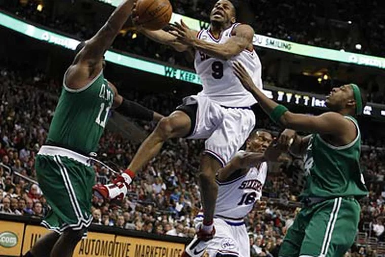 Andre Iguodala scored 25 points for the 76ers, but Paul Pierce (right) dropped a game-high 31 as the Celtics beat the Sixers, 100-98, at the Wachovia Center. (Ron Cortes/Staff Photographer)