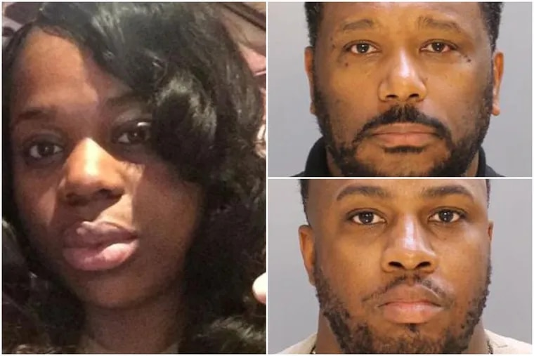 Joyce Quaweay, left, 24, was beaten to death in the Germantown home she shared with her then-boyfriend, Aaron Wright, top right, and his friend, Marquis Robinson. Both men are former Temple University police officers.