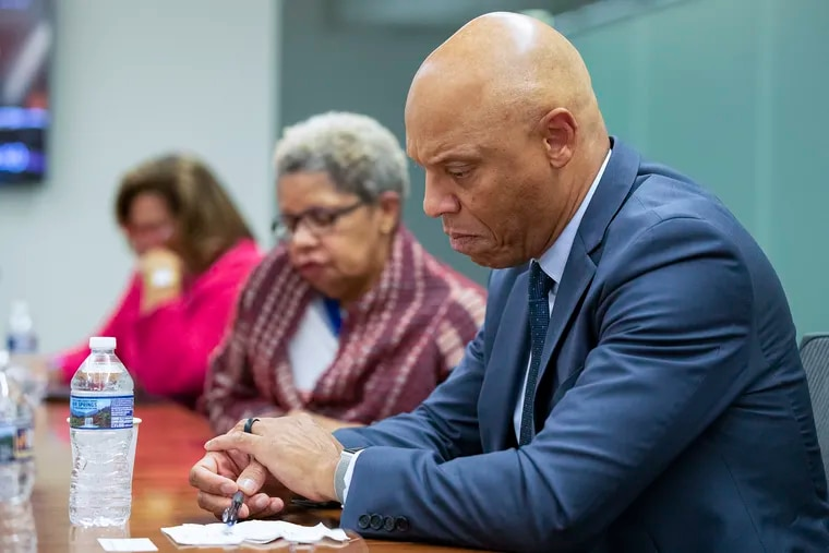 Philadelphia School District Superintendent William Hite meets with reporters and members of the Philadelphia Inquirer editorial board at the newspaper's Center City office in Philadelphia, PA on Tuesday, Oct. 08, 2019.