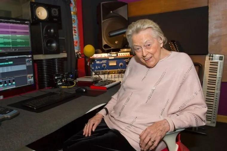 "Margaret Mackie relaxes in the studio after recording ""My Way"" with Jamie Lee Morley in Edinburgh."