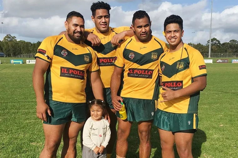 Rugby is a family affair for the Mailatas. Jordan (second from left) poses with his brothers in 2016 while the crew was playing for a local rugby club. From left to right: Daniel, Jordan, Moana and Oshan, a family friend. Also featured is Jordan's niece, Eraia.