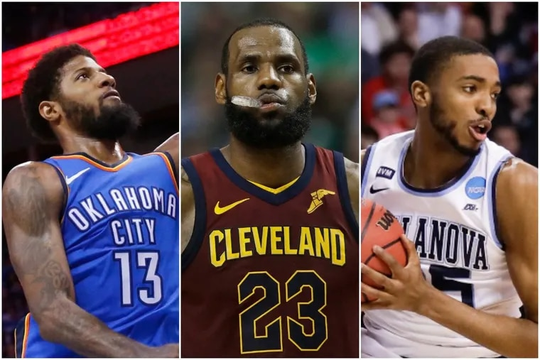 The Thunder's Paul George, left, the Cavs' LeBron James, center, and Villanova's Mikal Bridges are players who could fit well with the Sixers in a positionless NBA.