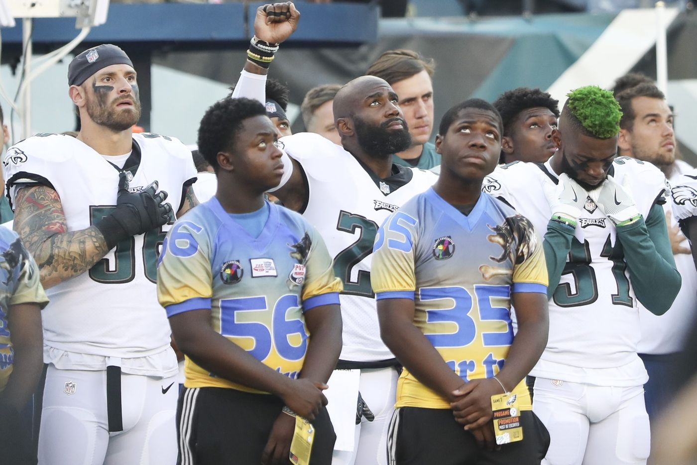 Malcolm Jenkins raises fist in protest during national anthem in response to 'how the offseason went'