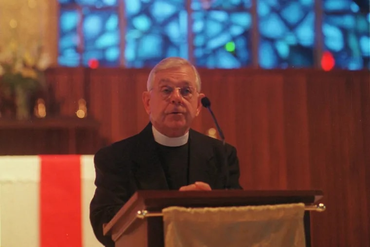 Monsignor Trinity speaks at Our Lady of Good Counsel on the National Day of Prayer in 2001.