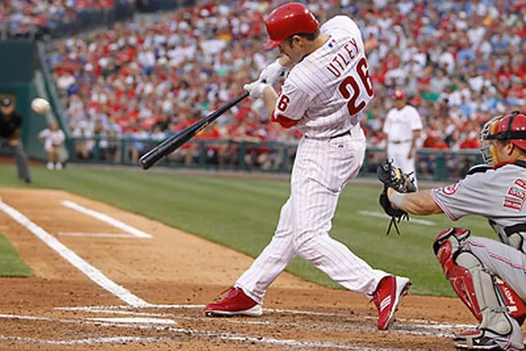 Even though the Phillies lost last night, Chase Utley got his first hit of the season. (Ron Cortes/Staff Photographer)