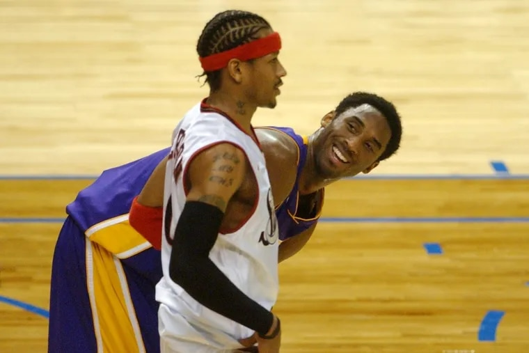All-Star Game MVP  Kobe Bryant  (right) of the West  talks with East All-Star Allen Iverson during the 2002 game in Philadelphia.
