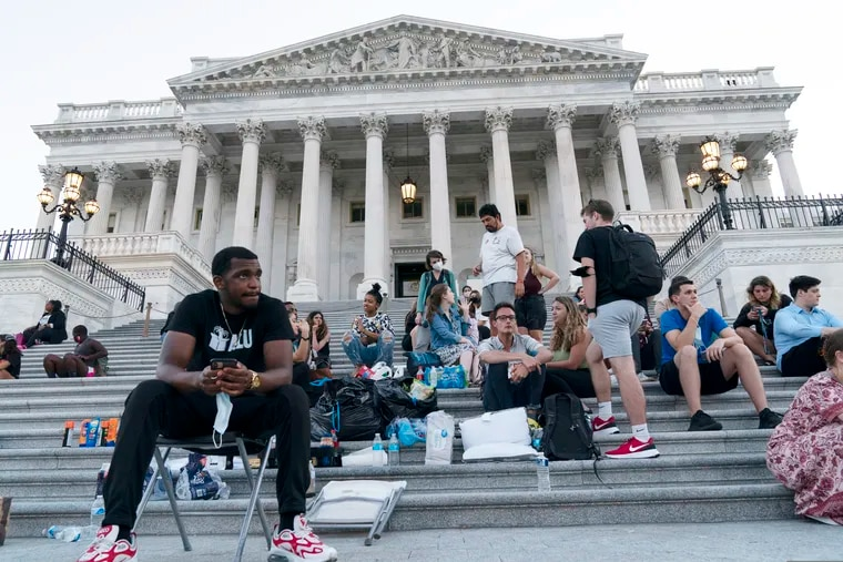 Supporters of Rep. Cori Bush (D., Mo.) camped with her outside the U.S. Capitol on Monday to protest the end of a nationwide eviction moratorium.