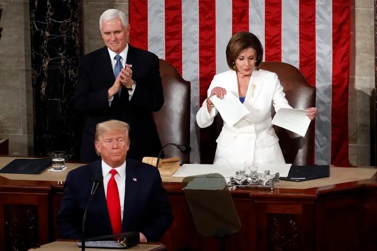House Speaker Nancy Pelosi of Calif., tears her copy of President Donald Trump's s State of the Union address after he delivered it to a joint session of Congress on Capitol Hill in Washington on Tuesday.