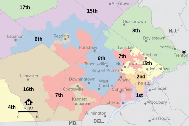 The highly contorted congressional districts in Southeastern Pennsylvania have been called some of the most gerrymandered in the country.