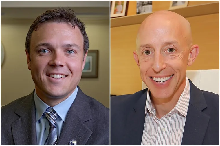 Kevin Madden, left, and Brian Zidek were the first Democrats elected to the Delaware County Council in four decades.