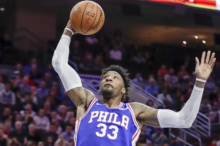 Sixers forward Robert Covington could be sidelined for two games because of a lower back contusion.