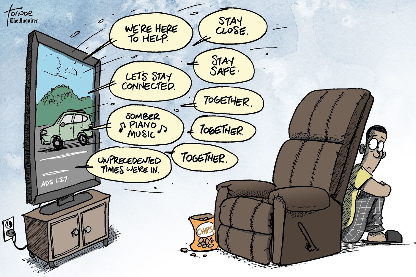 Political cartoon: In a coronavirus world, every commercial is the same
