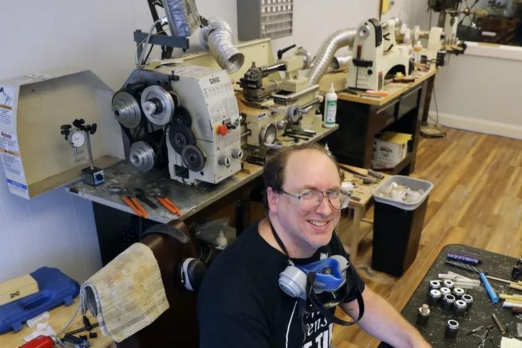 John Greco creating pens in his workshop/gallery at GW Pens in Woodstown, Salem County.