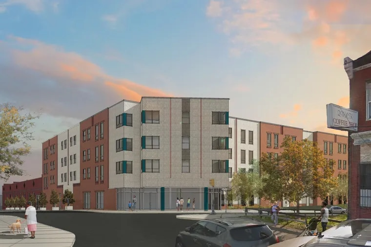 """Artist's rendering of the planned """"Be a Gem Crossing"""" affordable-housing project set to rise at the site of the notorious LIberty Motel at Germantown Avenue and Westmoreland Street in North Philadelphia."""