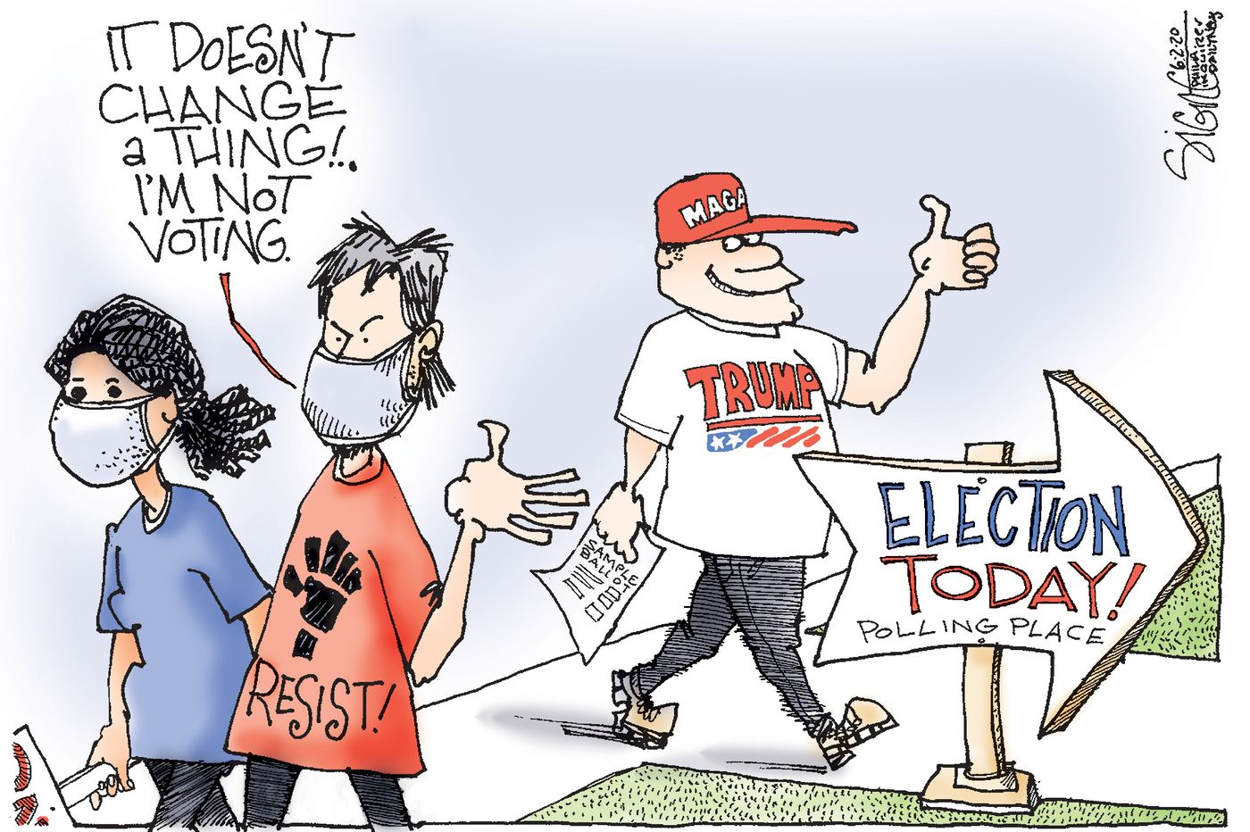 Political Cartoon: Don't vote. Elect Trump!
