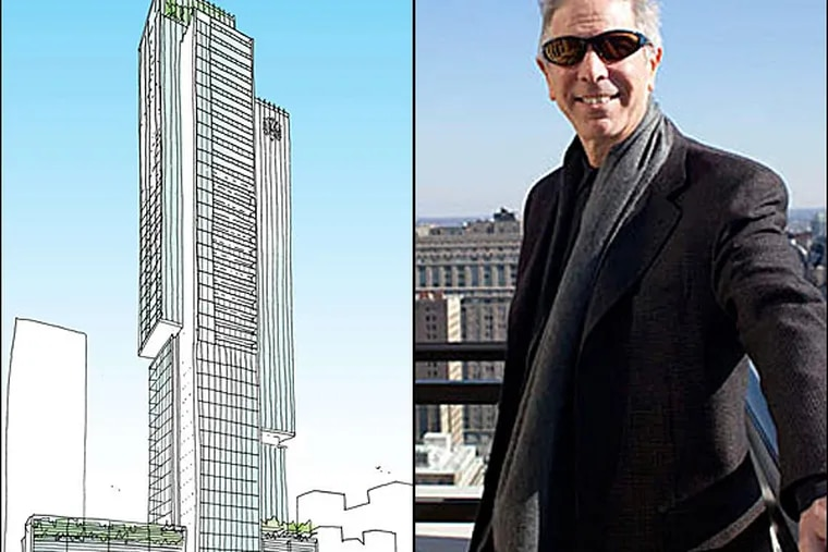 Carl E. Dranoff's latest S. Broad Street project will be the tallest high-rise built just for residential use in the city. (Dranoff photo: ED HILLE / Staff/File; Rendering by Kohn Pedersen)