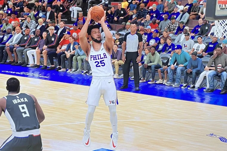 Ben Simmons takes a midrange jumper on NBA 2K21 against the Clippers.