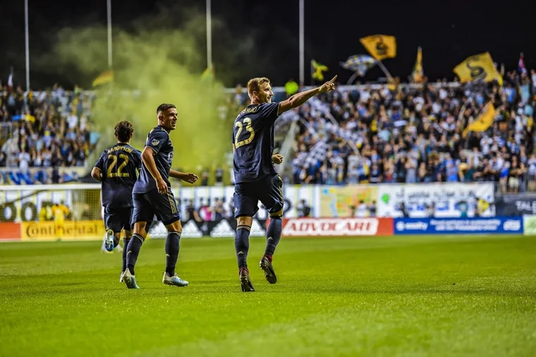 Kacper Przybylko celebrates after scoring a goal in the Union's 1-1 tie with Los Angeles FC at Talen Energy Stadium on Sept. 14.