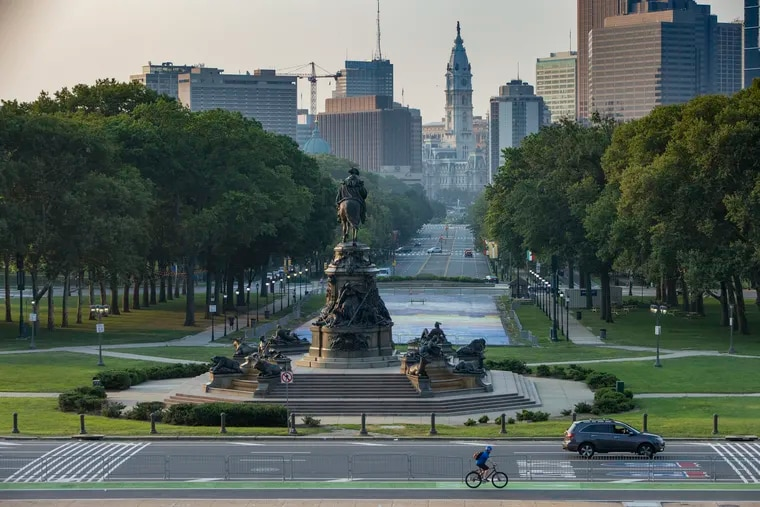 The Benjamin Franklin Parkway as seen from the steps of the Philadelphia Museum of Art, Tuesday morning, July 27, 2021.
