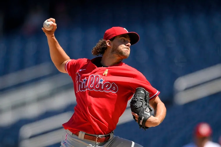 Phillies starter Aaron Nola delivers a pitch during the fourth inning against the Washington Nationals.
