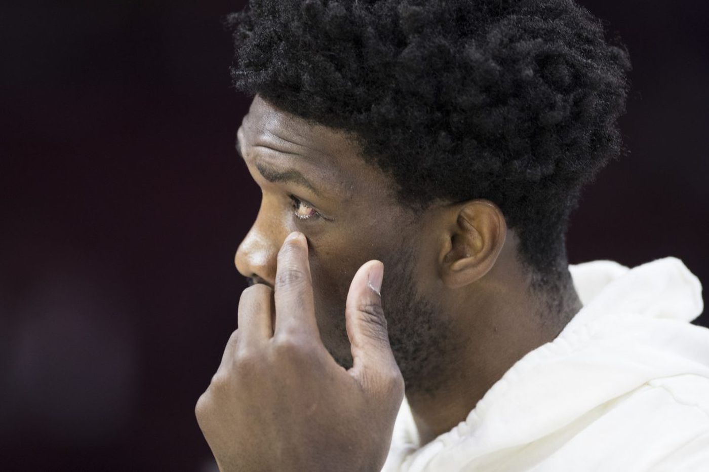 Sixers' Joel Embiid attends game against Cavs, doctors happy with orbital bone recovery