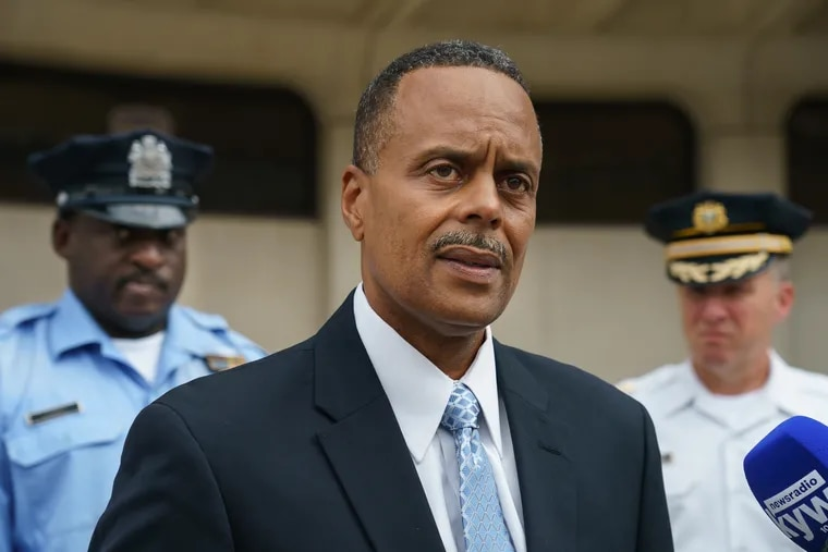 Former Police Commissioner Richard Ross speaks with the media outside Police Headquarters, in Philadelphia, Wednesday, Aug. 21, 2019.