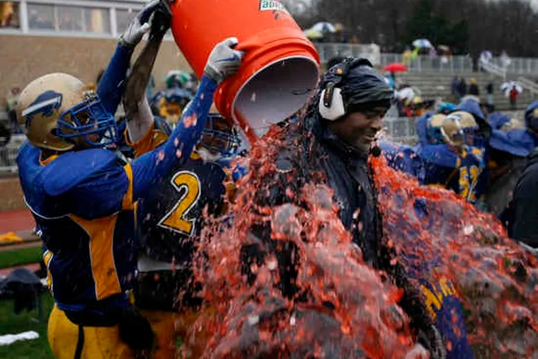 Zack Valentine gets a Gatorade dousing as the Thundering Herd celebrate winning the South Jersey Group 1 final.