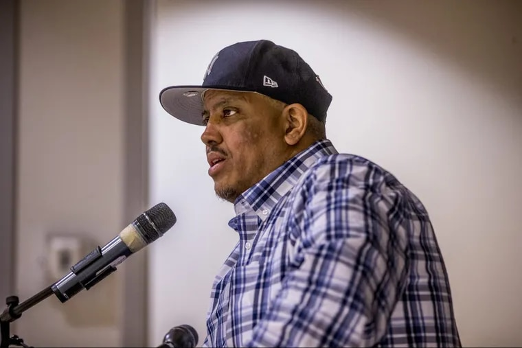 Luis Suave Gonzalez speaks to students at the Esperanza Academy Charter School the day he got out of prison, after 31 years, to ask their forgiveness.