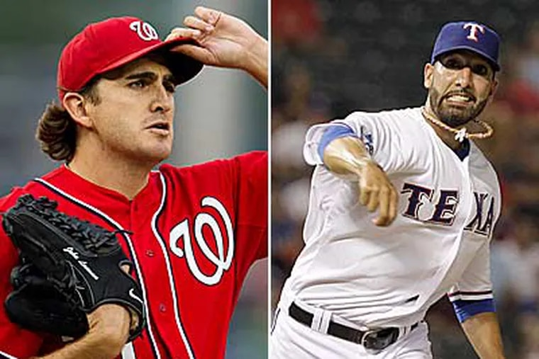 The Phillies signed Mike Adams (right) from the Texas Rangers while John Lannan comes from the Washington Nationals. (AP Photos)