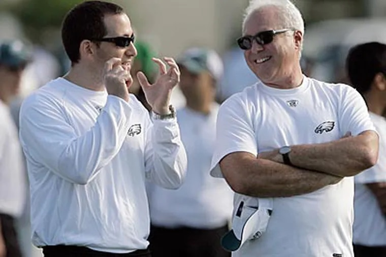 Howie Roseman, left, and Jeffrey Lurie hope to grab a great coach despite the Eagles' numerous warts.