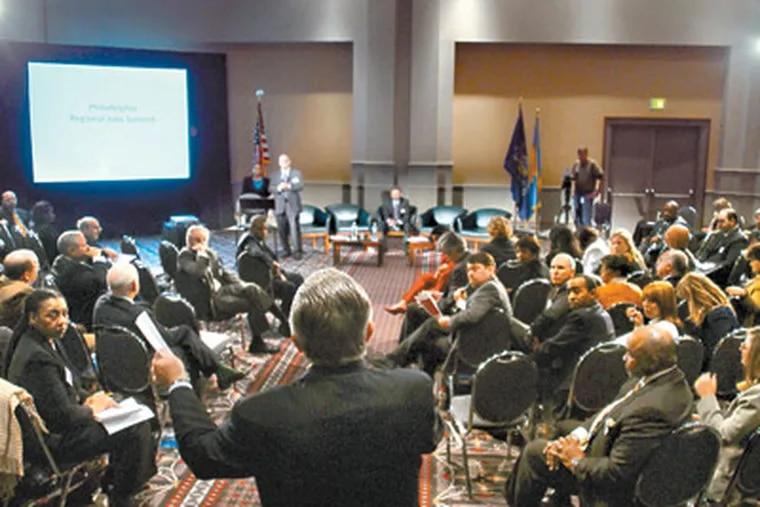 Philadelphia Council AFL-CIO President Pat Eiding (back to camera) speaks as local leaders from the Philadelphia region gather for a jobs summit Dec. 3, 2009.  ( Tom Gralish  / Staff Photographer )