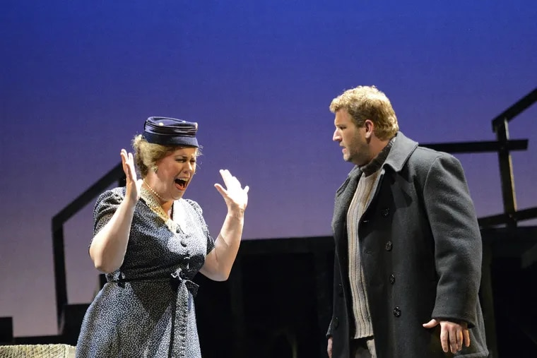 """Caroline Worra as Ellen Orford and Alex Richardson as Peter Grimes in the Princeton Festival's production of """"Peter Grimes."""""""