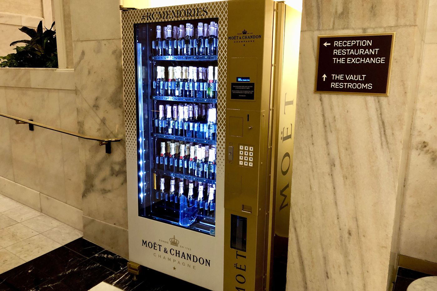 Champagne vending machine pops up in a Philly hotel lobby