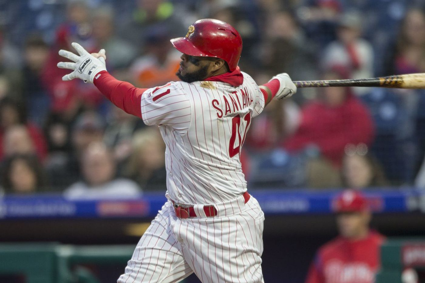 Phillies first baseman Carlos Santana tends to heat up with the weather