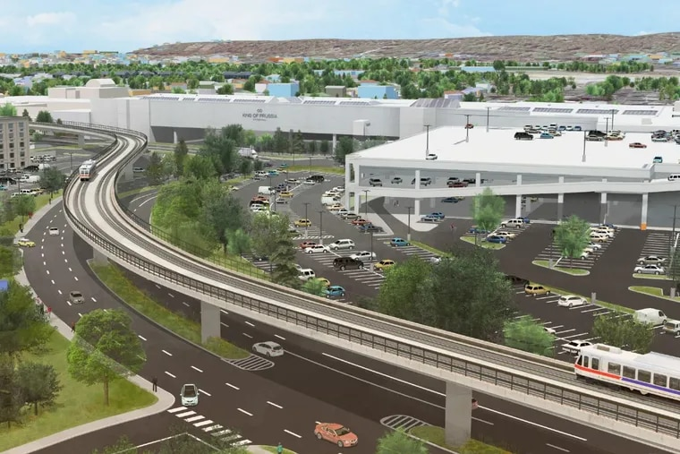Artist's rendering of Norristown High Speed Line's King of Prussia Rail extension traveling along Mall Boulevard.