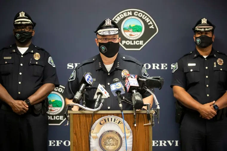 Camden County Police Chief Joseph Wysocki, center, during a news conference in early October about the arrests of four men in the September shooting of two Camden officers' home. On Tuesday, he announced that he will retire from the department at the end of the year.