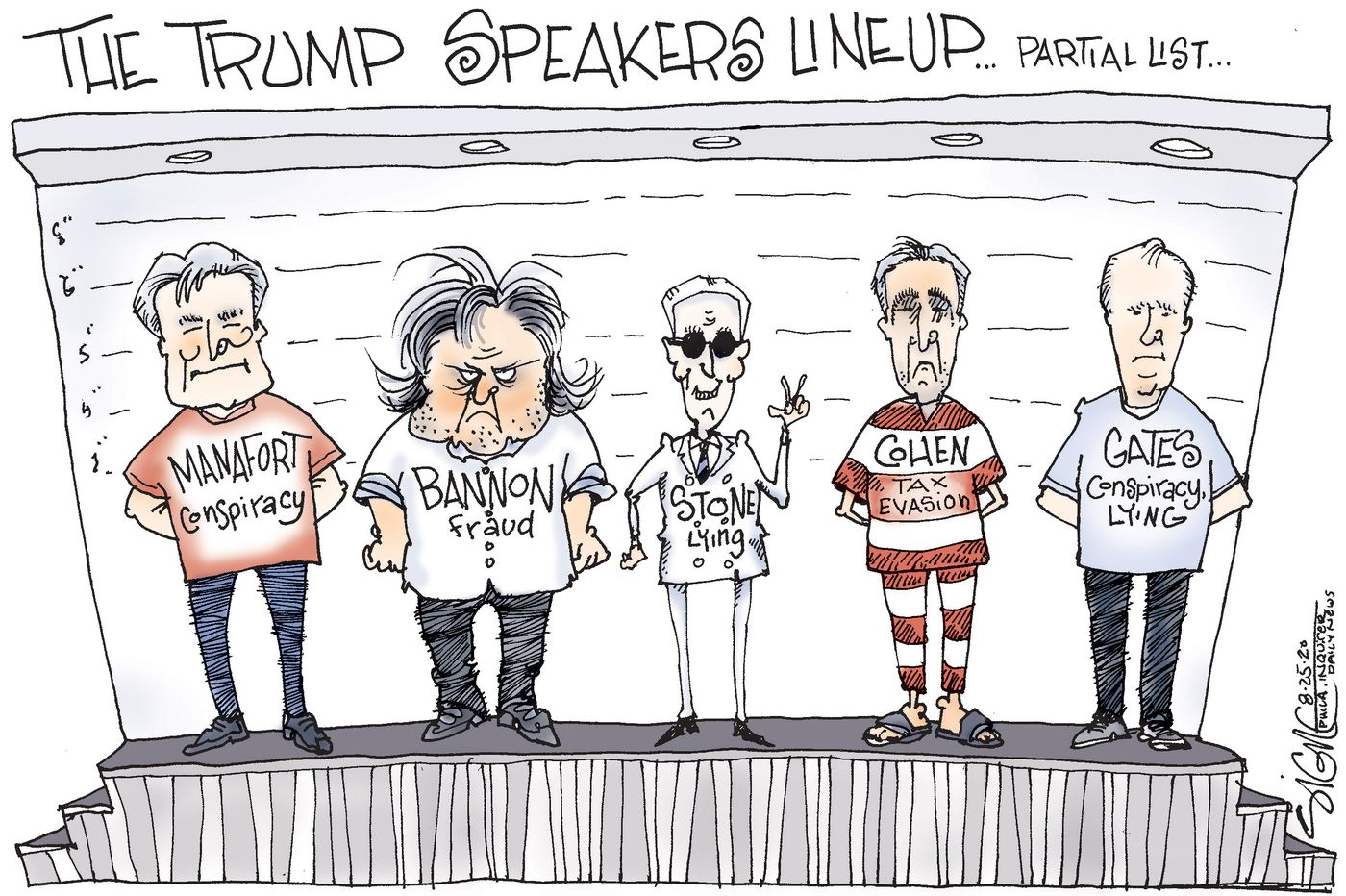Political Cartoon: Republican National Convention's speakers bureau