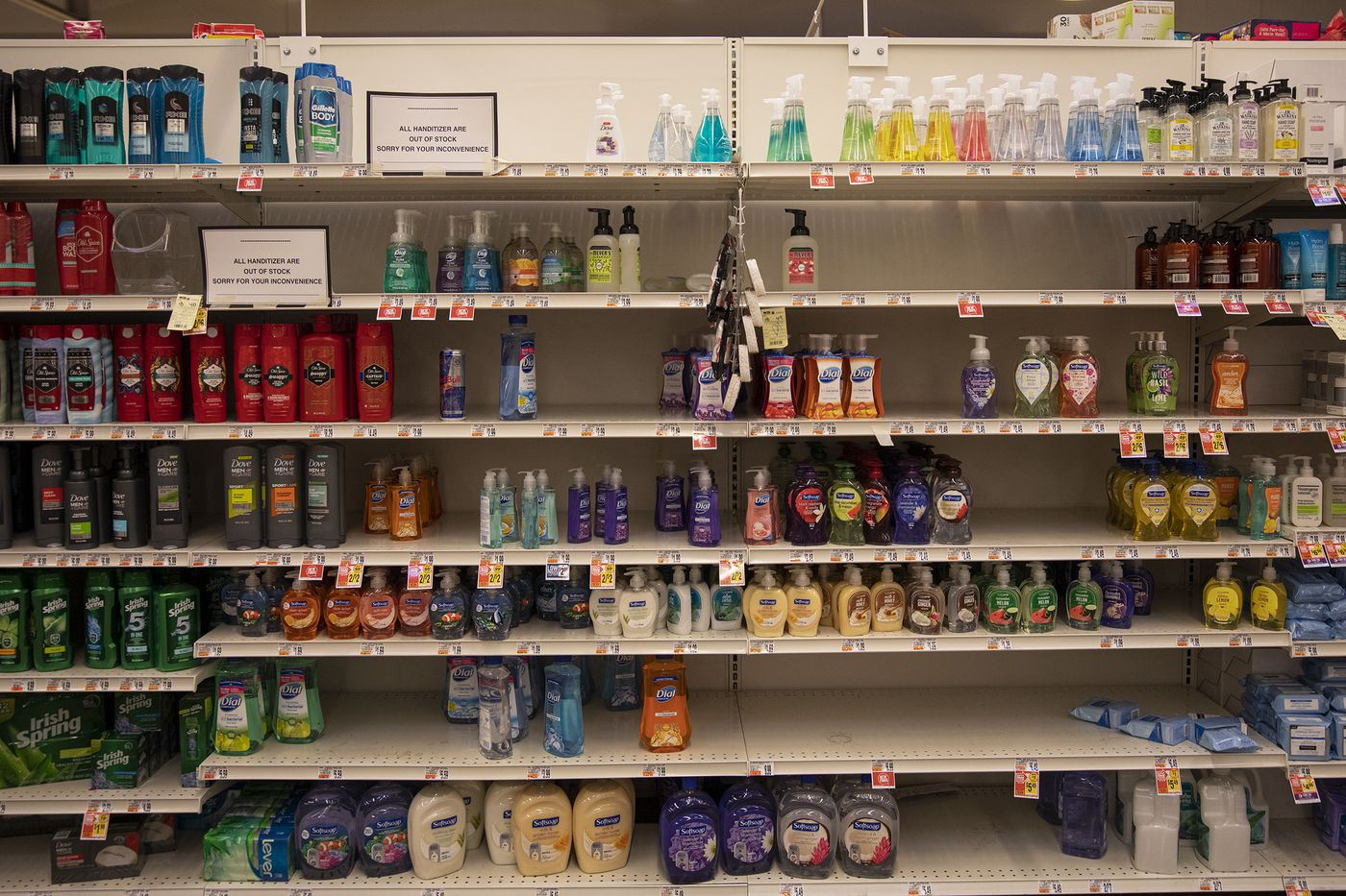 A Giant Food Store in Havertown, Pa., put up a sign telling customers they're out of hand sanitizer March 3.