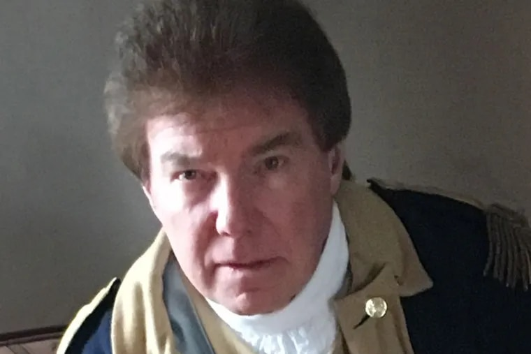 """Samuel Davis, a former Chesterfield, N.J. committeeman.  Davis, who frequently portrays George Washington in speeches and reenactments, recently blamed """"illegal voting activity"""" by Indians for his defeat in local elections."""
